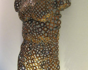Copper rust Metal Wall art metal torso home decor sculpture Nude by Holly Lentz