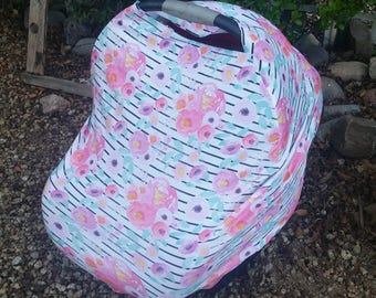 Baby Car Seat Canopy - Stretchy Car Seat Cover - Nursing Poncho - Pink Mint Floral Baby Cover - Baby Shower Gift - Multi Purpose Baby Cover