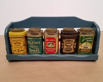 Set of 5 Vintage Spice Containers with Rack