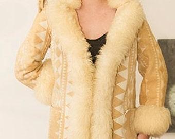 WARM sheepskin shearling southwest 70s princess coat L