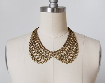 vintage collar necklace / chainmail necklace / brass necklace / Maille necklace