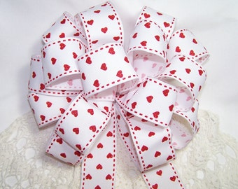 White Ribbon with Sparkly Red Hearts Round Handmade Bow Gift Wreath Valentines Decoration Bow Wedding Pew LOVE Glitter