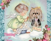 Vintage Girl w Yorkie, Yorkshire terrier card topper, sympathy card,  digtial, download, printable