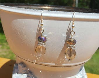 Smoky Crystal and Rhinestone Earrings Dangle Drop Earrings Elegant Dainty Feminine Free U.S. Shipping