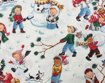 Alexander Henry Let's Make a Snowman fabric 2006 FQ or more