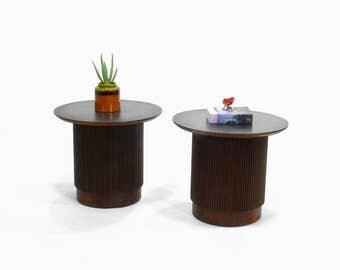 Mid Century Modern Lane Furniture Round Pedestal Side Tables // End Tables (Set of 2)