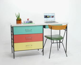 Vista of California Iron Framed Multi Colored Writing Desk, Mid Century Modern