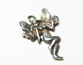Sterling Silver Fairy Charm - Mystical Fantasy Charm - Sterling Silver Charm for Charm Bracelet - Vintage 1960's 1970's