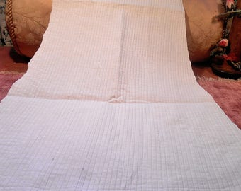 Antique Fabric Off-White Pinstripe Remnant Cotton Edwardian
