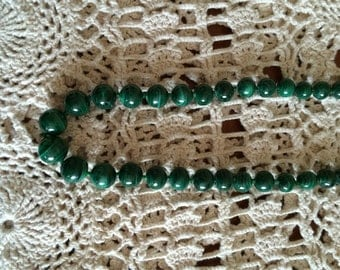 "Vintage Malachite Necklace Green Beaded Necklace Graduated Beads In Deep Green 24"" Strand Necklace Polished Stone Necklace"
