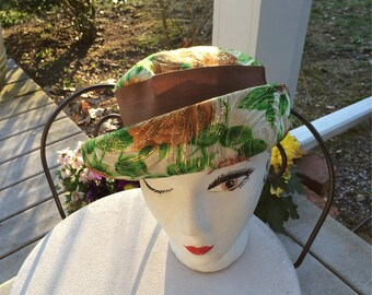 Floral Hat with Gold Thread Garden Party Hat  Shabby Chic Floral Garden Party Hat Union Made in USA Brocade Floppy Hat Bright Green and Gold