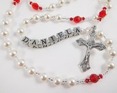 July Birthstone Ruby Rosary Swarovski Crystal Personalized - Baptism, First Communion, Confirmation Gift