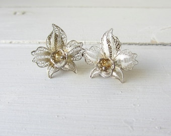 Vintage Sterling Silver Filigree Orchid Clip on Earrings