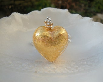 Chunky Gold Murano Glass Heart Necklace