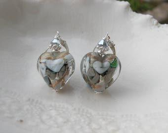 Gray Venetian Murano Glass Earrings