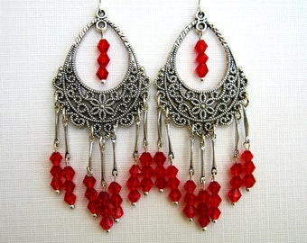Red Chandelier Earrings Red Filigree Chandelier Earrings Red Crystal Earrings
