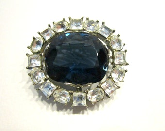 Vintage Blue Rhinestone Brooch Clear Oval Princess Cut Stone Pin Gift for Her Blue Wedding Jewelry Gift Idea under 20