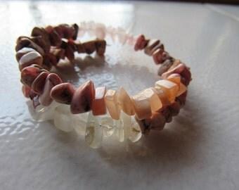 Rhodocrosite, Rose Quartz , Moonstone Bracelet, Healing stones, Love Energy, Love and Balance