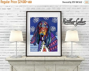 50% Off Today- FIELD SPANIEL Dog ART Poster Dog Folk Art  Print of Painting by  Heather Galler (Hg423)