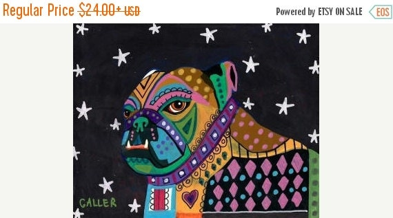 50% Off Today- English Bulldog art dog Poster Print of painting by Heather Galler (HG406)