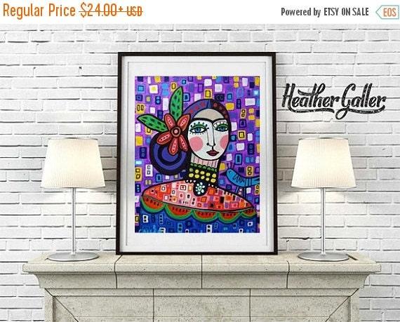 50% Off Today- Mexican Folk Art - Folk Art Frida Kahlo Print - Mexican Folk Art Painting  Art Print Poster by Heather Galler (HG633)