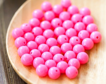 Vintage Pink Plastic Bead, Bubble Gum Pink Round Bead