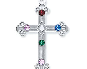 Custom-Made Family Birthstone Cross Pendant, 1 to 5 Birthstones, 925 Sterling Silver, Mother's Day Gift Idea, Religious Family Pendant