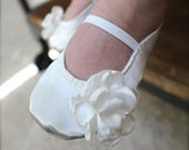 Ivory or White Satin Baby Girl Shoes - Ballet Flats - Toddler Girl Shoes - Christening, Baptism Shoes - Flower Girl Shoes