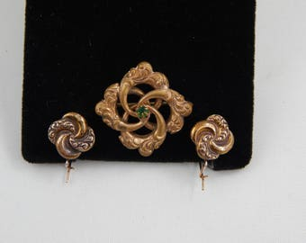 Antique Victorian Gold Fill on Silver  Repousse Love Knot Brooch/Pin Earring Set