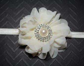 CLEARANCE/ Ivory Chiffon Flower Headband/ Ivory Baby Headband/ Baby Hair Accessories/ Girls Hair Accessories/ Sale Headband/ Ivory Flower