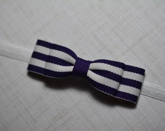 Purple & White Striped Bow Headband/Purple and White Baby Headband/Baby Hair Accessories/Baby Girls Hair Accessories/ Purple and White