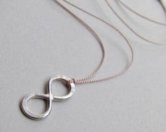 Sterling Silver Necklace Infinity Necklace Silk Minimalist Minimal Sterling Silver Pendant, Handcrafted Silk Thread Jewelery