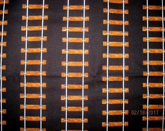 18X22, TRAIN TRACKS, Cotton Fabric, Black, Fat quarter, scrap, remnant, train, engine, locomotive, thomas,