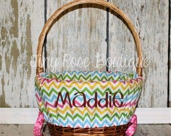Personalized Easter Basket Liner, Custom Basket Liner - Pastel Chevron