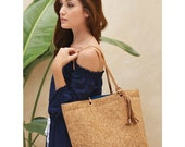 Monogram Personalized Cork Tote by Mudpie, Rose Gold and Navy Cork Tote, Gold and Pink Cork Tote