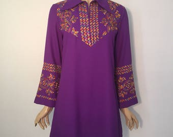 Purple psychedelic early 1970s embroidered vintage tunic top or mini dress in lightweight poly-crepe - flared sleeves