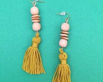 Wood Upcycled Vintage Yellow Tassel Earrings