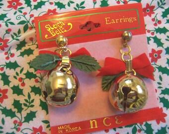 sleigh bells christmas earrings