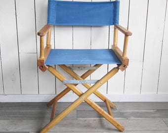 Vintage Wood & Canvas Director's Chair - Blue