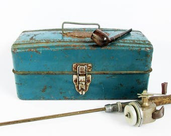 "Blue Mid Century Union Metal Tackle box, Toolbox  ""Nice Distressed Patina"""