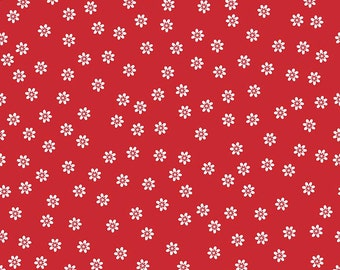 Sew Cherry 2 Fabric Red Lori Holt Fabric Riley Blake Sew Cherry Fabric Red Daisy Fabric Red Quilting Fabric - By The 1/2 Yard