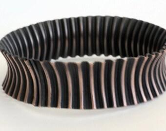 Artisan Copper Bangle Bracelet Corrugated, Handcrafted