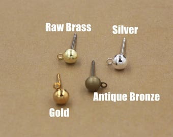 200PCS Brass Hollow Bead Earring Posts W/ Ring 5x12mm Raw Brass / Antique Bronze/ Gold/ Silver Plated Earrings Ear Studs Wholesale- Z8715