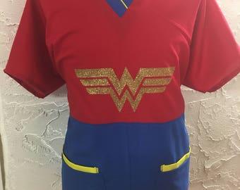 Wonder Woman scrub top - superhero girl mecical scrub top nurse doctor surgical RN CNA DR dentist dental scrubs pediatric  #medicalscrubs