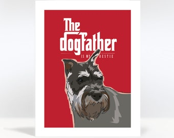 Dog Fathers Day Card with Schnauzer - The Dogfather is my Bestie - The Godfather - Schnauzer Gifts for Dad
