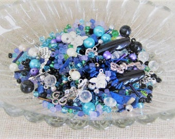 Cool Blues Bead Soup Mix / Destash 3 oz. Assorted Beads, Charms & Findings