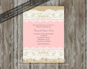 "Bridal/Wedding Shower invitations - Digital file ""Burlap and Lace Blush"" design"