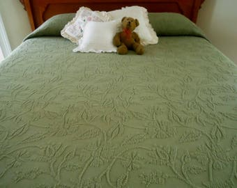 Vintage Dark Sage Green Cotton Woven Full Size Bedspread Free Shipping