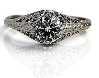 Art Deco Engagement Ring 1930's .73ctw GIA Solitaire Engagement Ring Antique Diamond Ring European Cut Diamond Engagement Ring in Platinum