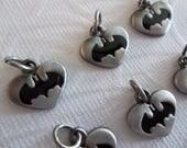 Batman Charms - D.C. Comics Originals - Antiqued Silver Grey & Black Batwings - Batman Logo - Heart Shape - Qty 6